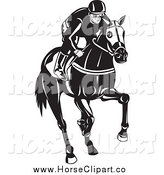 Clip Art of a Black and White Male Jockey on a Horse by Patrimonio