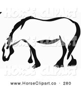 Clip Art of a Black and White Paintbrush Stroke Styled Draft Horse Looking to the Left by Prawny