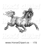 Clip Art of a Black and White Pen and Ink Drawing of a Muscular Victorian Horse Trotting off to the Right by C Charley-Franzwa
