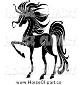 Clip Art of a Black and White Prancing Horse by Vector Tradition SM