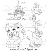 Clip Art of a Black and White Princess and Pony by a Castle by Pushkin