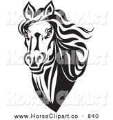 Clip Art of a Black and White Red Eyed Horse Head by Vector Tradition SM