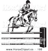Clip Art of a Black and White Riding Jockey Leading a Horse to Jump over Hurdles by David Rey