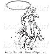 Clip Art of a Black and White Roper Cowboy Man on a Horse Swinging a Lasso to Catch a Cow or Horse by Andy Nortnik