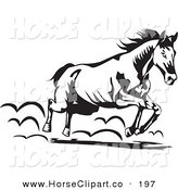 Clip Art of a Black and White Running Horse Moving to the Right by David Rey