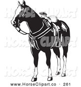 Clip Art of a Black and White Saddled Horse Looking to the Left by David Rey