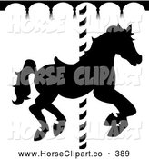 Clip Art of a Black and White Silhouetted Carousel Horse Going Around by Pams Clipart