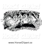 Clip Art of a Black and White Stone Mountain Confederates by Johnny Sajem
