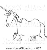 Clip Art of a Black and White Unicorn by Djart