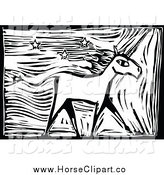 Clip Art of a Black and White Unicorn with Stars by Xunantunich