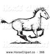 Clip Art of a Black and White Wood Carved Texture Horse Running to the Side by Xunantunich