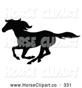 Clip Art of a Black Galloping Horse Silhouette on White by C Charley-Franzwa