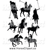 Clip Art of a Black Horse Silhouettes by Leonid