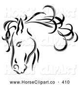 Clip Art of a Black Line Art Sketched Horse Head with a Blowing Mane by C Charley-Franzwa