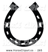 Clip Art of a Black Lucky Horse Shoe over White by Andy Nortnik