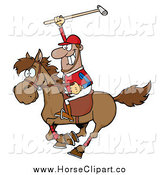 Clip Art of a Black Male Polo Player Holding up a Stick by Hit Toon