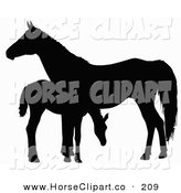Clip Art of a Black Silhouette of a Foal Grazing by a Horse by Dero