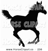 Clip Art of a Black Silhouette of a Galloping Horse Going Right by Dero