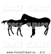 Clip Art of a Black Silhouette of a Horse Grooming a Foal by Dero