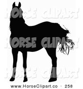 Clip Art of a Black Silhouette of a Horse in the Wind on White by Dero