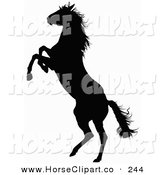 Clip Art of a Black Silhouette of a Rearing Horse Facing to the Left by Dero