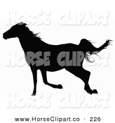 Clip Art of a Black Silhouette of a Running Horse over White by Dero