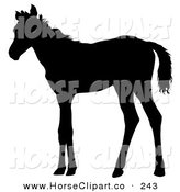 Clip Art of a Black Silhouette of a Skinny Foal Looking Left by Dero