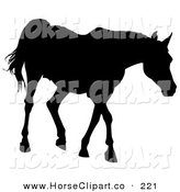 Clip Art of a Black Silhouette of a Walking Horse Going Right by Dero
