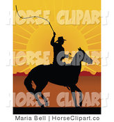 Clip Art of a Black Silhouetted Cowboy on Horseback, Preparing to Swing a Whip at Sunrise by Maria Bell