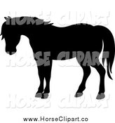 Clip Art of a Black Silhouetted Horse by Pams Clipart