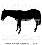 Clip Art of a Black Silhouetted Horse in Profile, Facing Left by Dero