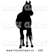 Clip Art of a Black Silhouetted Horse Standing and Looking Ahead by Dero