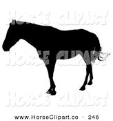 Clip Art of a Black Silhouetted Horse Swishing Its Tail and Looking to the Left by Dero