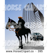 August 3rd, 2013: Clip Art of a Black Silhouetted Horseman by an Urban Building and SUV on Blue by Leonid