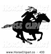 Clip Art of a Black Silhouetted Native American with a Bow and Arrows, Riding on a Running Horse to the Right by C Charley-Franzwa