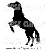 Clip Art of a Black Silhouetted Rearing Horse Looking Left by Dero