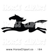 Clip Art of a Black Silhouetted South Western Styled Horse Running Quickly Left by C Charley-Franzwa