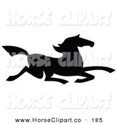 Clip Art of a Black Silhouetted South Western Styled Horse Running Right Quickle by C Charley-Franzwa