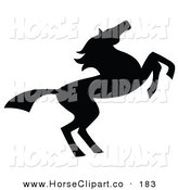 Clip Art of a Black Silhouetted South Western Styled Horse Running to the Right by C Charley-Franzwa