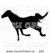 Clip Art of a Black Silhouetted Trotting Horse over White by Dero