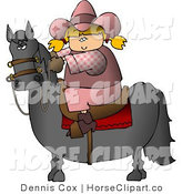 Clip Art of a Blond Cowgirl Riding a Saddled Horse with Reins by Djart