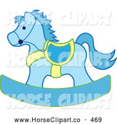 Clip Art of a Blue and Yellow Children's Toy Wooden Rocking Horse by Pams Clipart