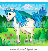 Clip Art of a Blue Haired Unicorn and a Castle by Visekart