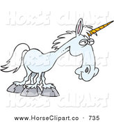 Clip Art of a Blue Unicorn Facing Right by Toonaday