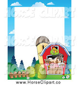 Clip Art of a Border of Farm Animals in a Barn by Visekart