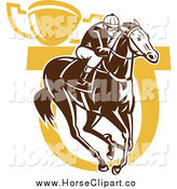 Clip Art of a Brown and Yellow Horse Jockey Horseshoe and Trophy by Patrimonio