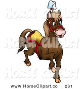Clip Art of a Brown Circus Horse Prancing Right by Dero