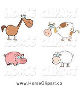Clip Art of a Brown Horse, Cow, Pig and Sheep by Hit Toon