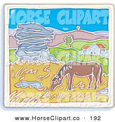 Clip Art of a Brown Horse Grazing on Grasses near a Home with Rolling Hills in the Background by Lisa Arts