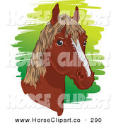 Clip Art of a Brown Horse Head with a Short Mane Facing Right by Paulo Resende